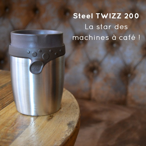 Steel TWIZZ 200 : the only mug which goes under every coffee machine